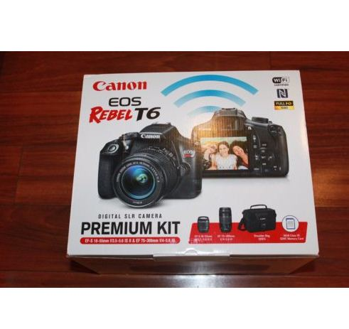 Canon Rebel T6 Slr Camera 2 Lens Kit With 18 55 75 300mm Bag 16gb Sd Card